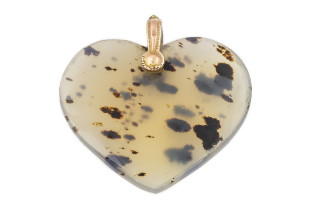 Georgian 9ct Gold Moss Agate Heart Charm Pendant c.1800