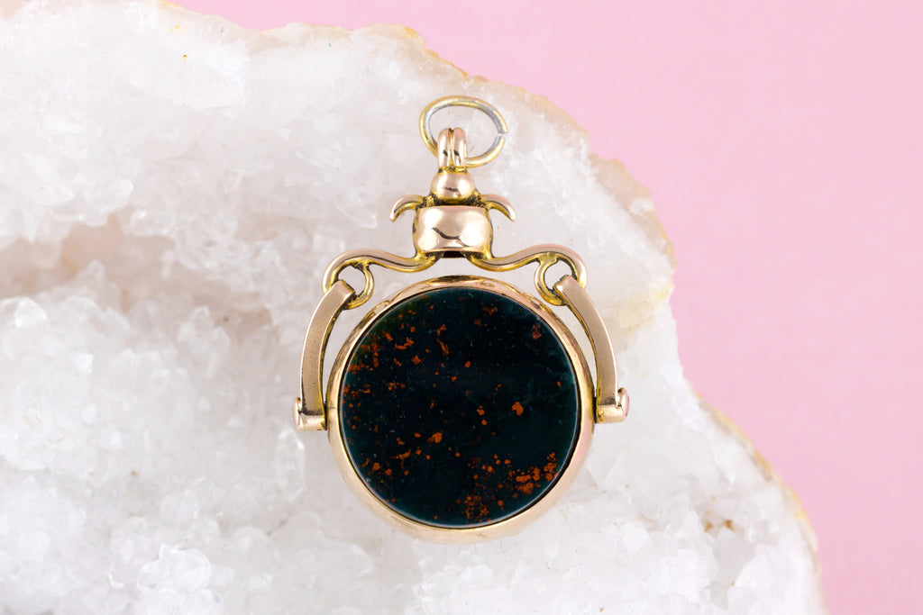 Edwardian Locket Fob Pendant in 9ct Rose Gold