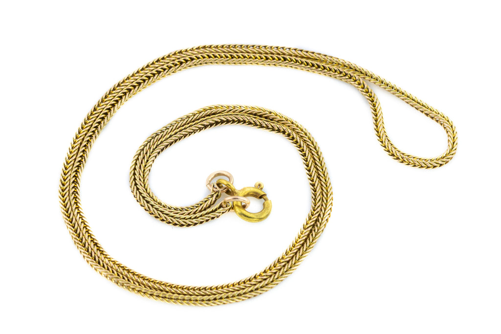 Antique Victorian Snake Chain Necklace, 9ct Gold