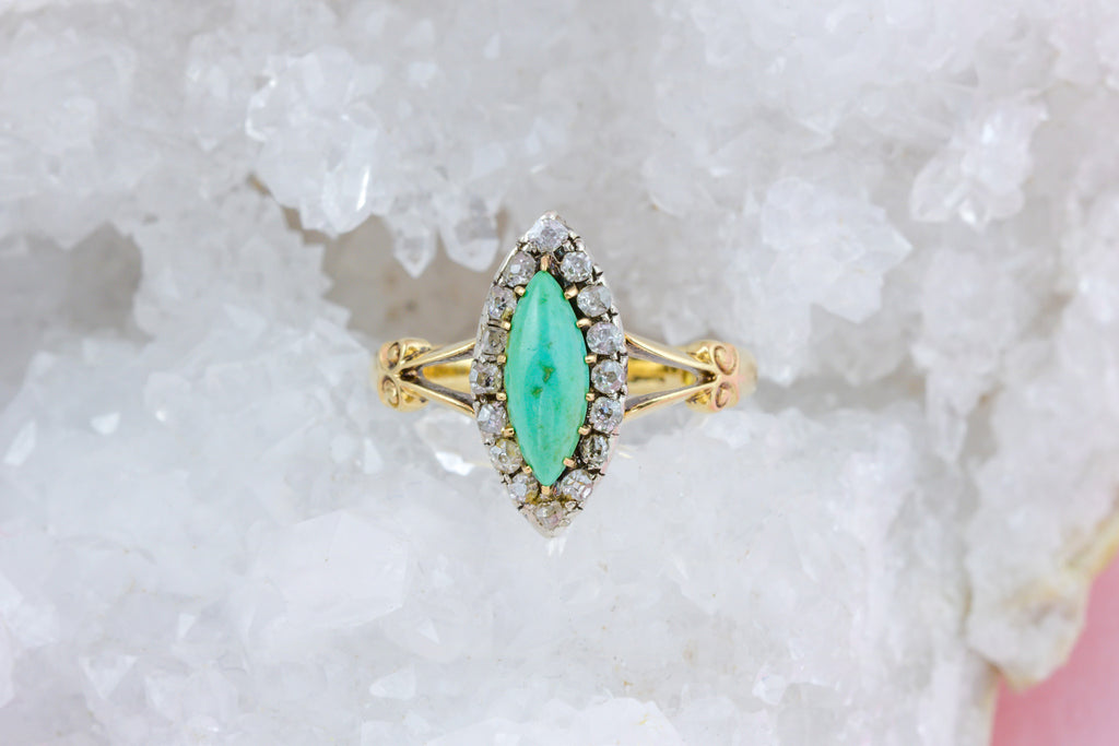 18ct Gold Antique Turquoise Diamond Cluster Ring - Turquoise Navette Ring