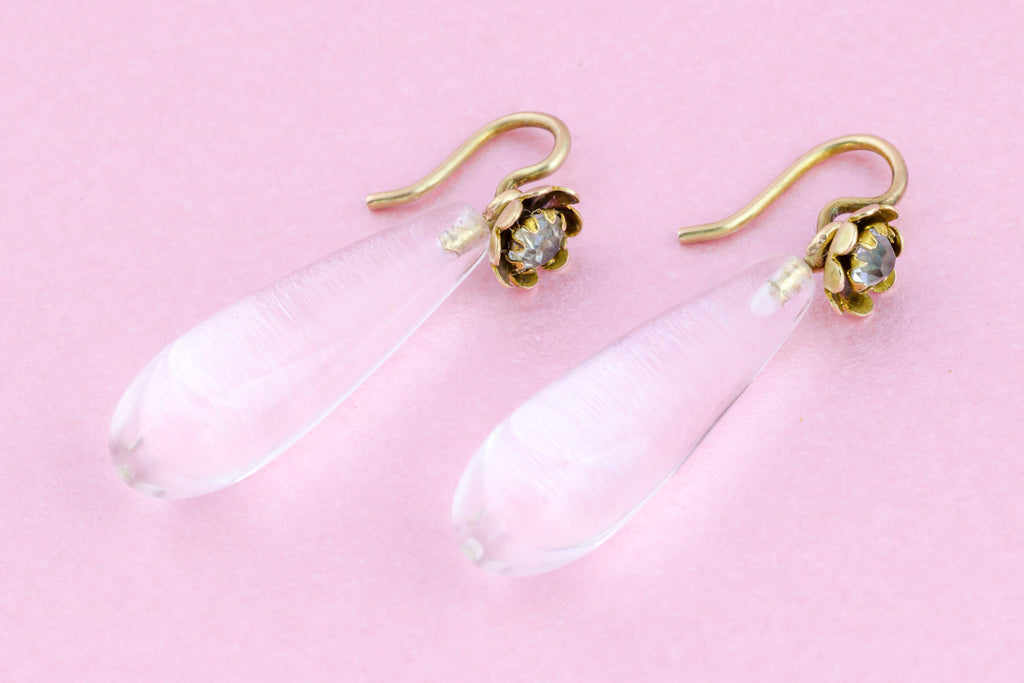 Victorian Rock Crystal Briolette Drop Earrings