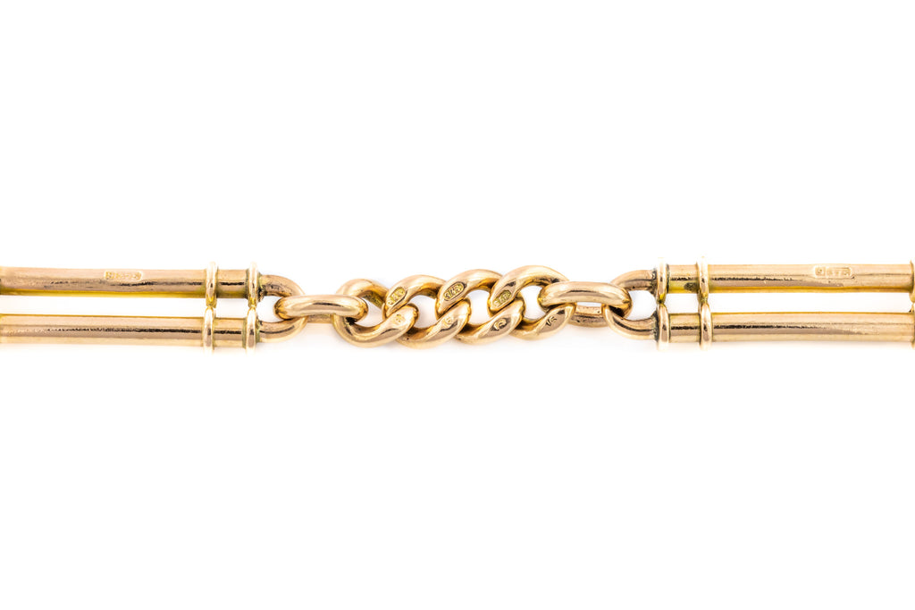 Victorian Trombone Link Bracelet in Solid 9ct Rose Gold