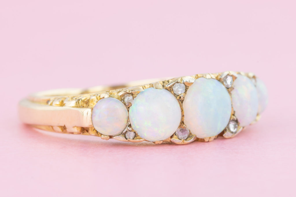 Superb Antique 15ct Gold Five Stone Opal Ring