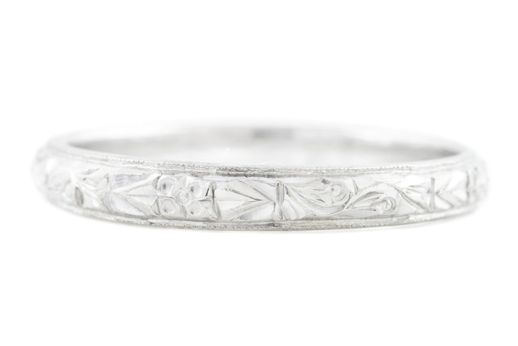 Art Deco Platinum Wedding Ring with Orange Blossoms
