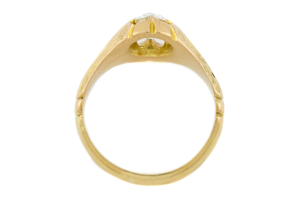 Victorian Diamond Solitaire Engagement Ring in 18ct Gold (0.60ct) - Buttercup Setting with Old Mine Cut Diamond