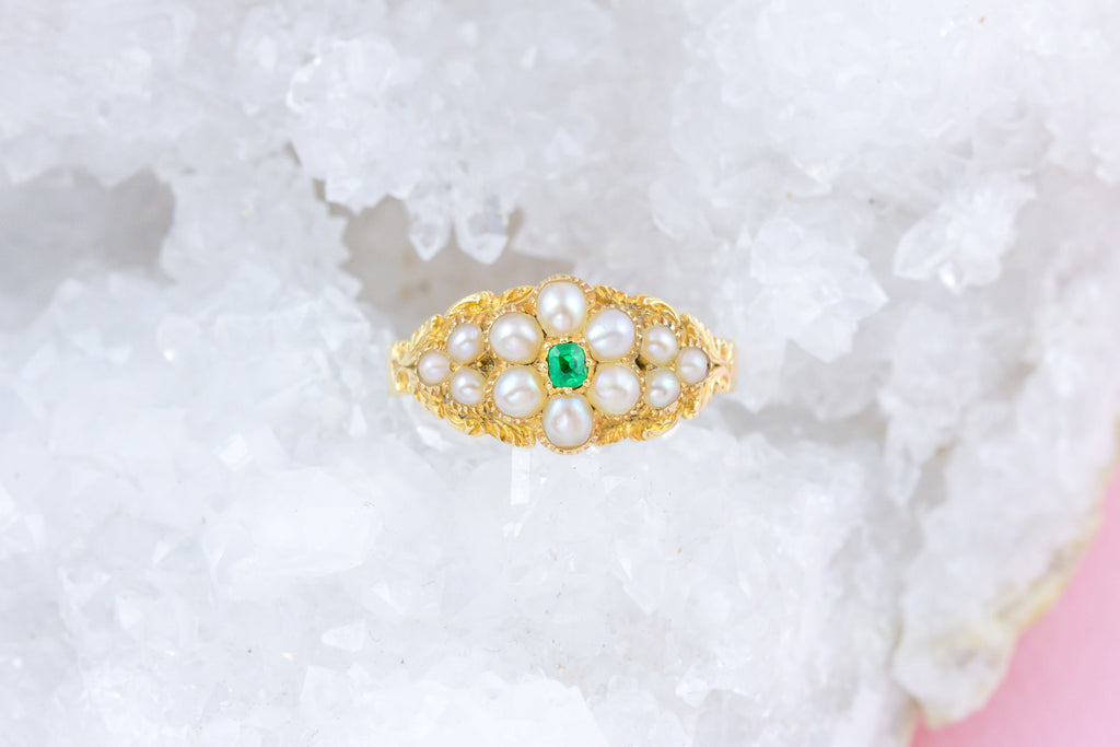 Georgian Natural Pearl and Emerald Cluster Ring c.1820