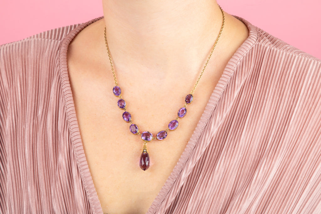 Victorian Amethyst Necklace in 15ct Gold with Briolette Drop (31.75ct)