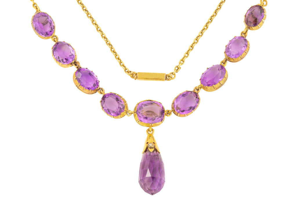 "Victorian Amethyst Necklace in 15ct Gold with Briolette Drop, 18"" (31.75ct)"