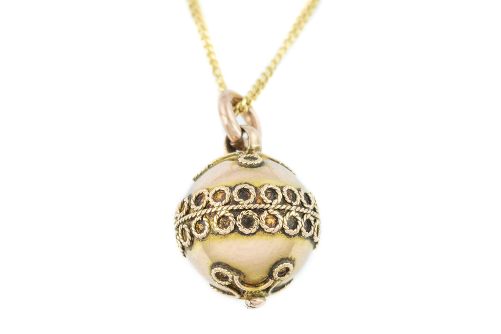Victorian Gold Etruscan Charm Pendant, with Chain