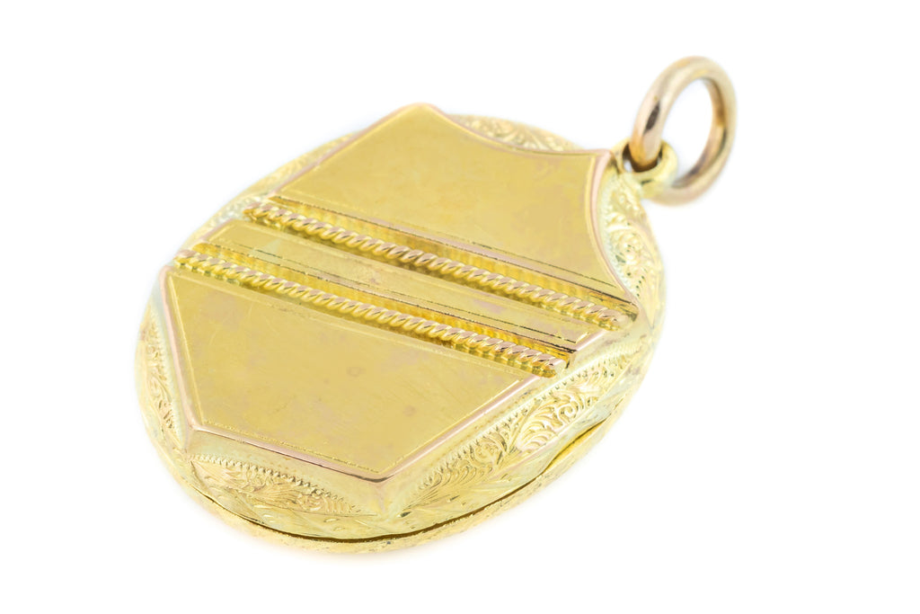 Victorian Gold Locket with Shield and Buckle Motifs