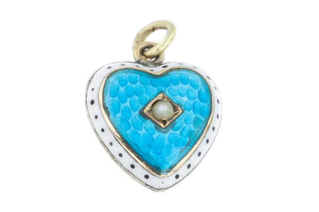 Victorian Enamel Heart Charm Pendant with Pearl Centre