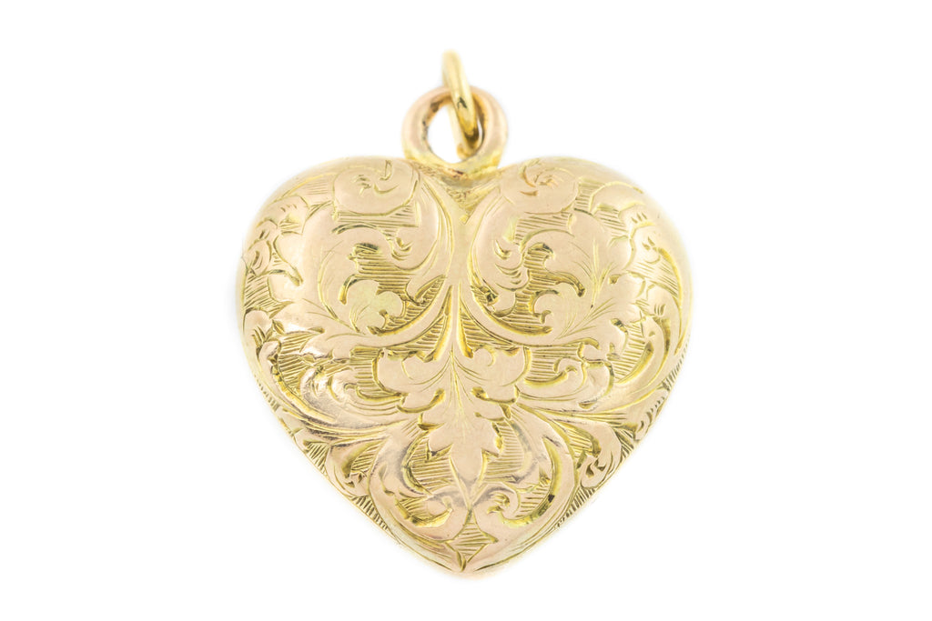 Victorian Gold Heart Charm Pendant - Antique Mourning Jewellery