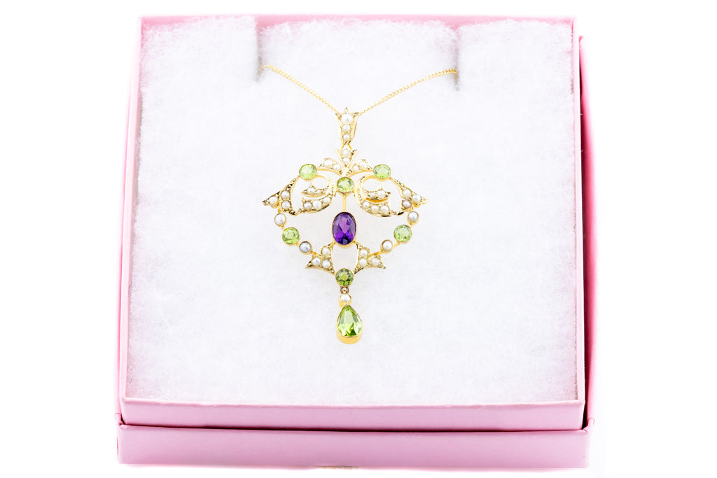 Edwardian Suffragette Lavelier Pendant in 9ct Gold