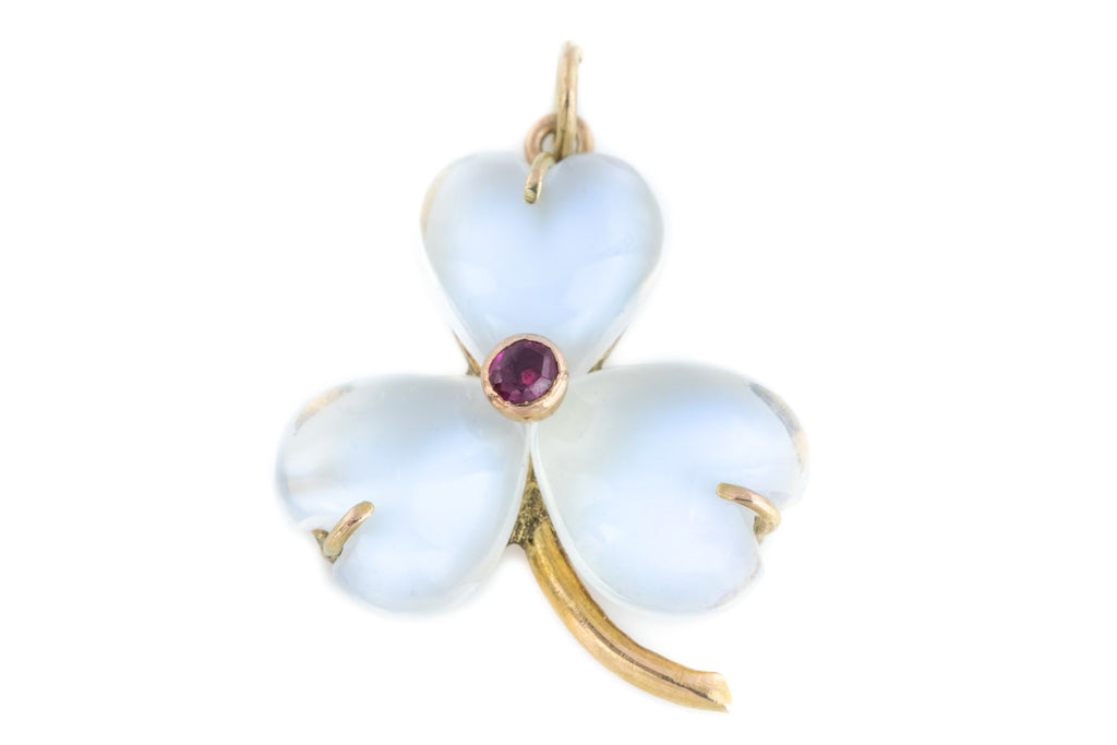 Antique Moonstone Ruby Lucky Shamrock Charm Pendant