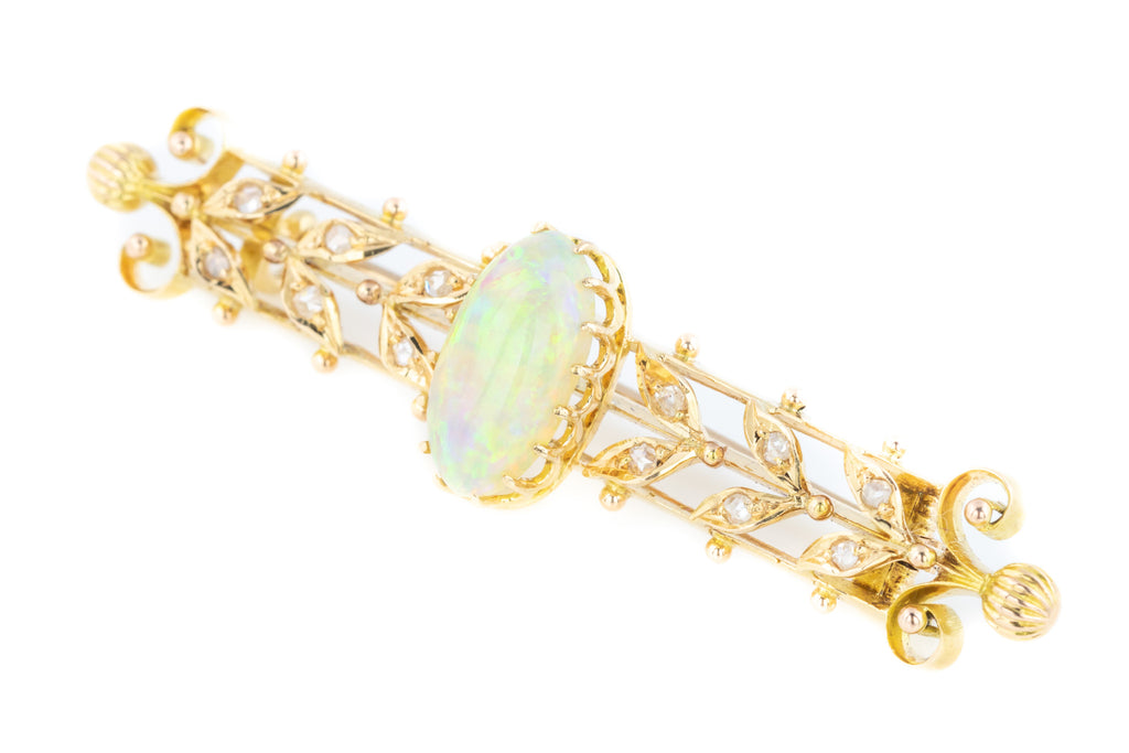 Antique Opal Diamond Bar Brooch - BOXED