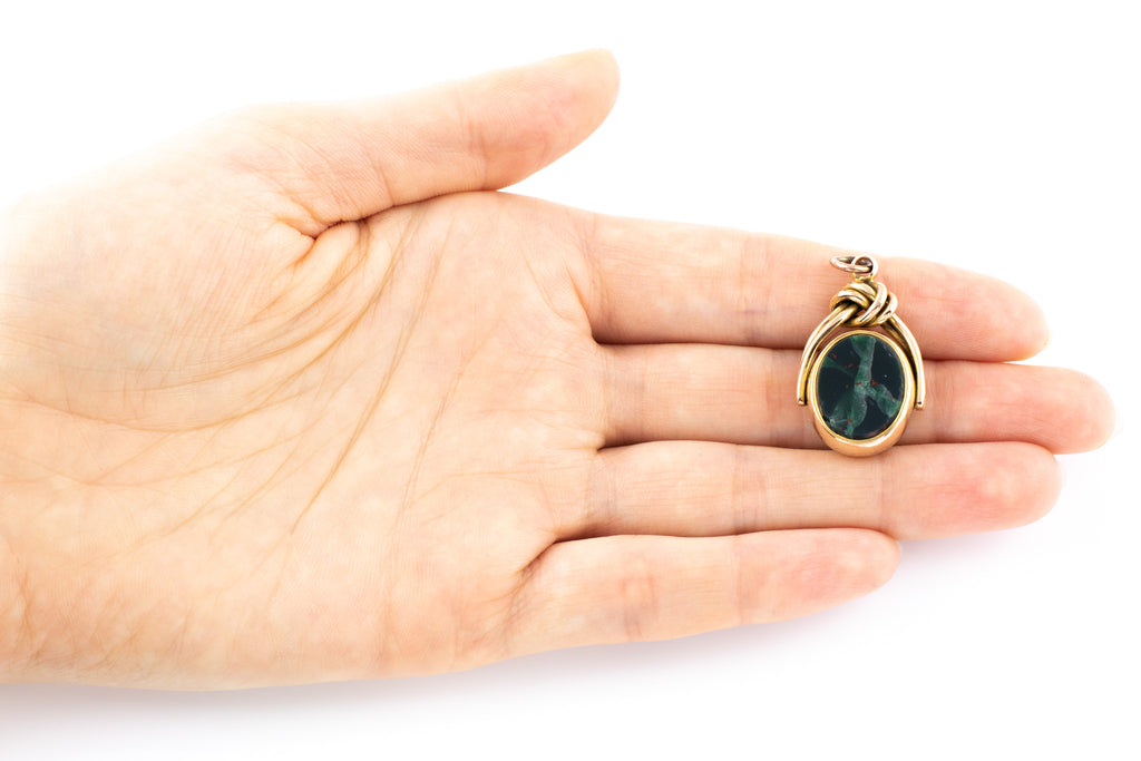 Victorian Gold Fob Pendant with Bloodstone and Carnelian