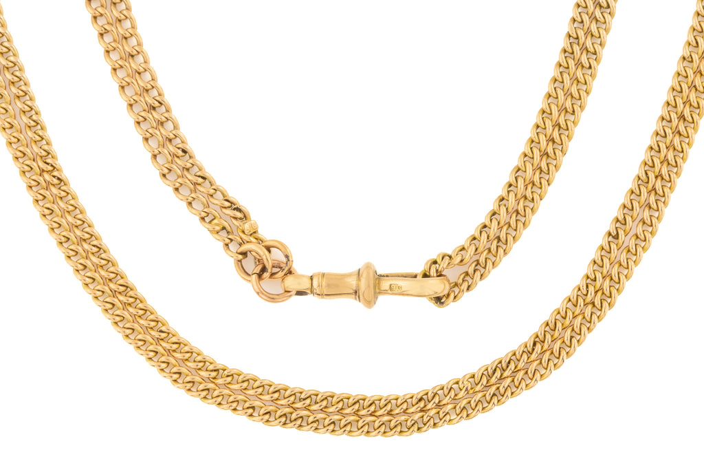 Victorian Gold Guard Chain Necklace, 60""