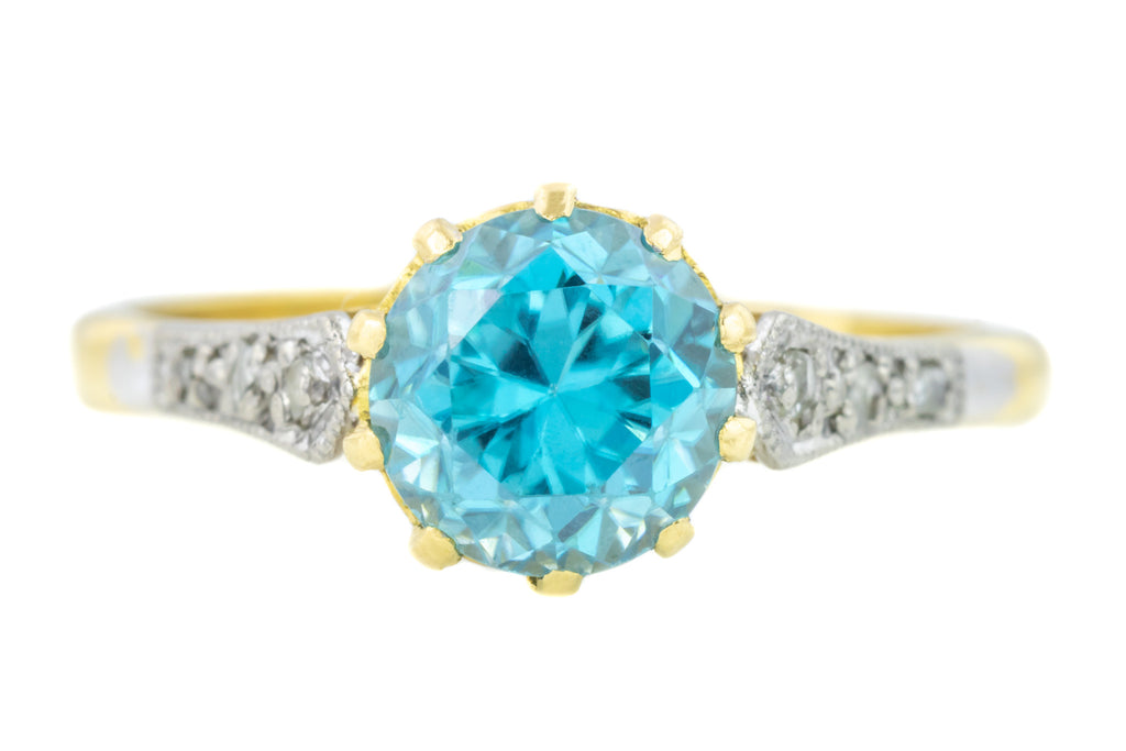 Art Deco 18ct Gold Zircon Solitaire Ring with Diamond Set Shoulders