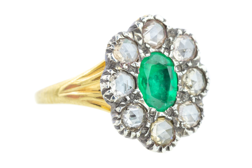 Georgian Emerald and Diamond Cluster Ring in 18ct Gold and Silver