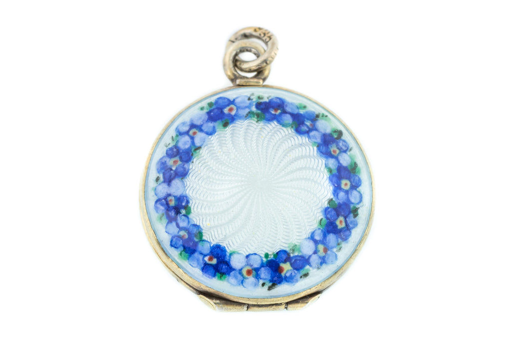 Art Nouveau Blue Guilloche Locket