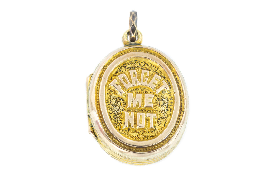 Victorian Forget Me Not Locket, 9ct Gold Back and Front