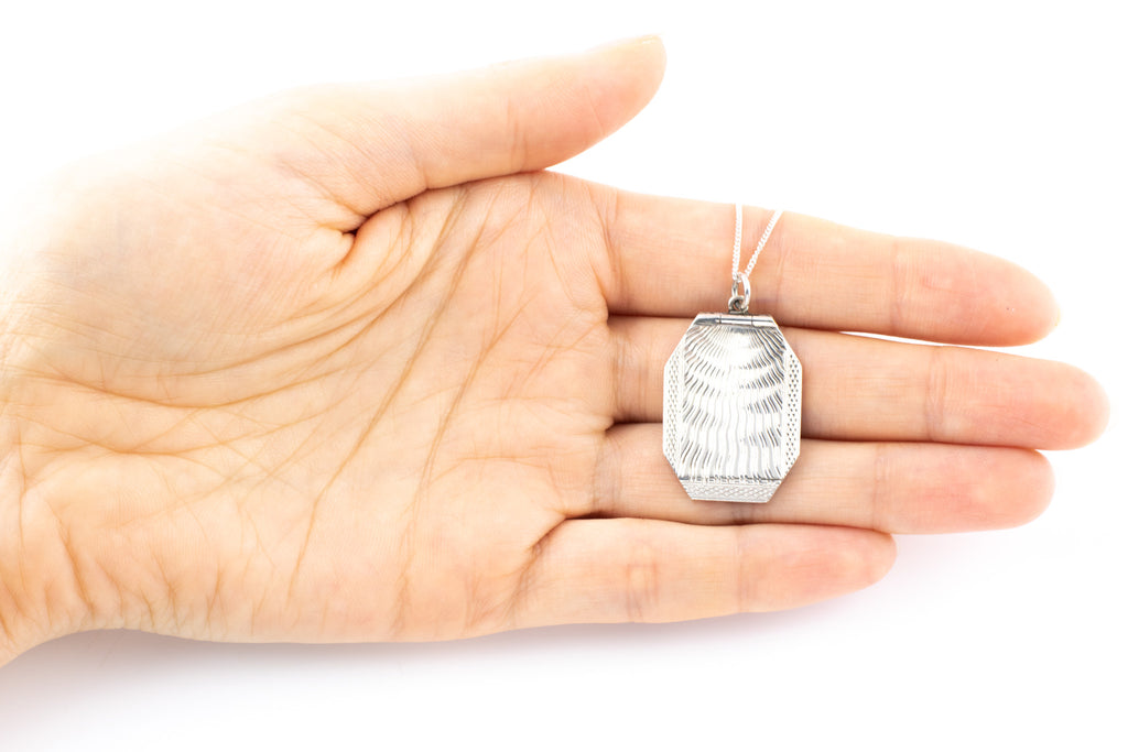 "Art Deco Geometric Silver Locket, with 16"" Chain"