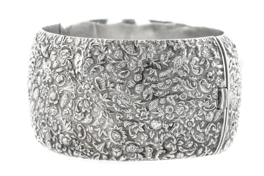Antique Silver Wide Cuff Bangle c.1880