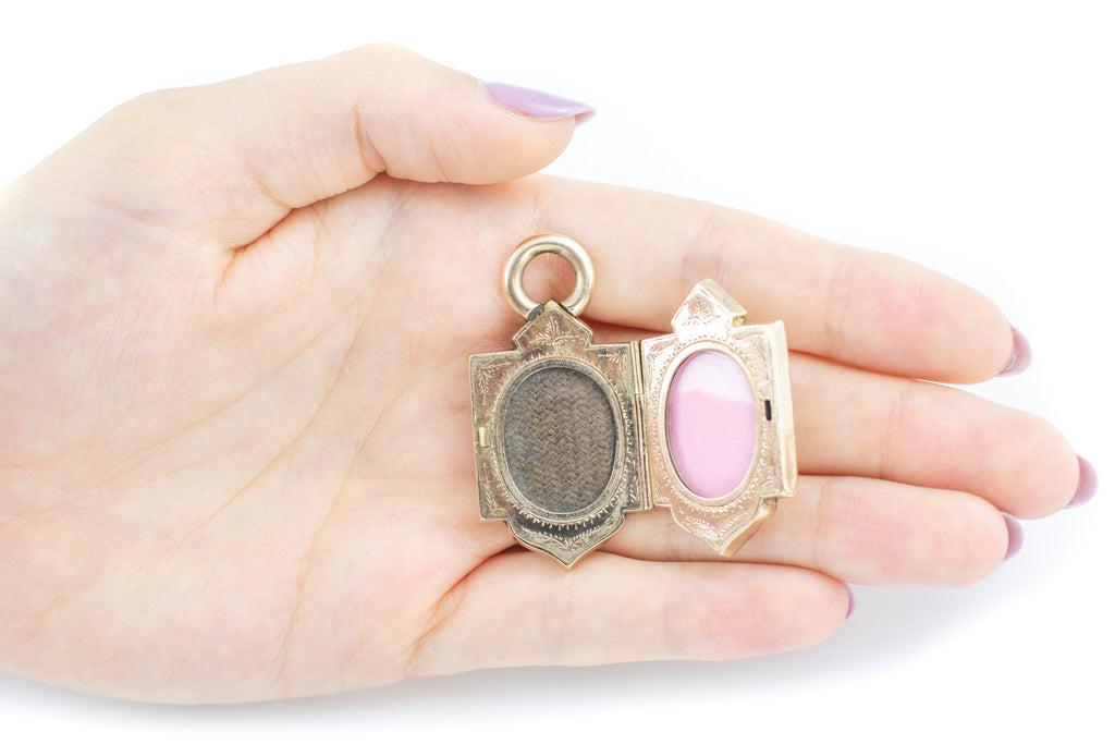 Victorian 12ct Gold Shield Locket with Garnet Cabochon c.1890