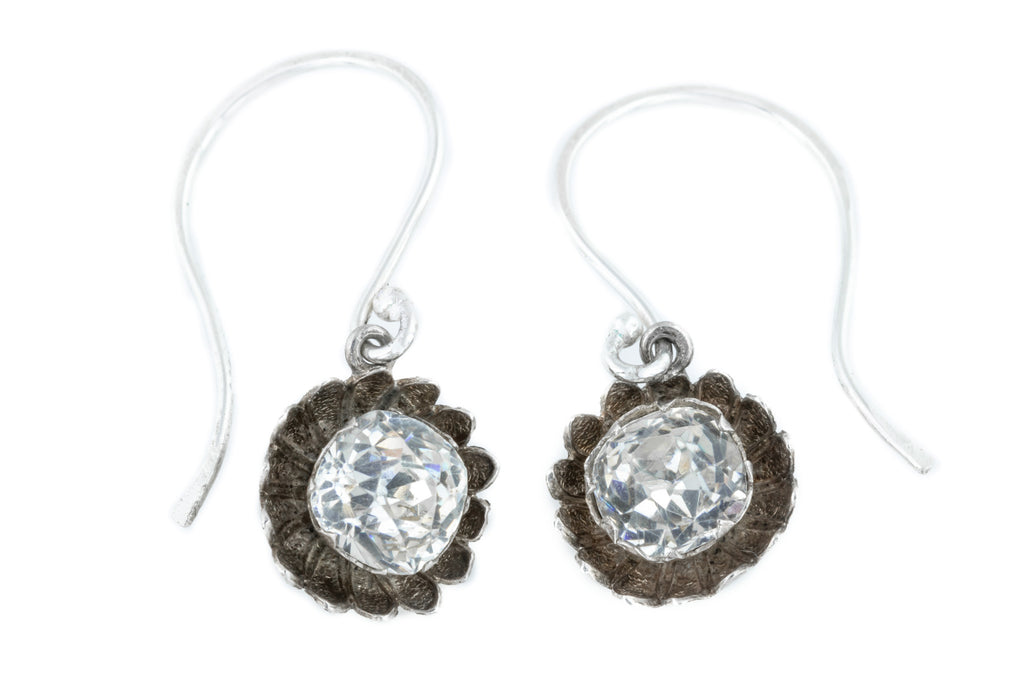 Antique Silver Paste Flower Earrings