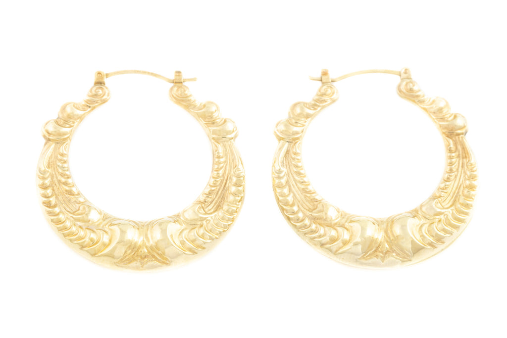 Large 9ct Gold Creole Hoop Earrings