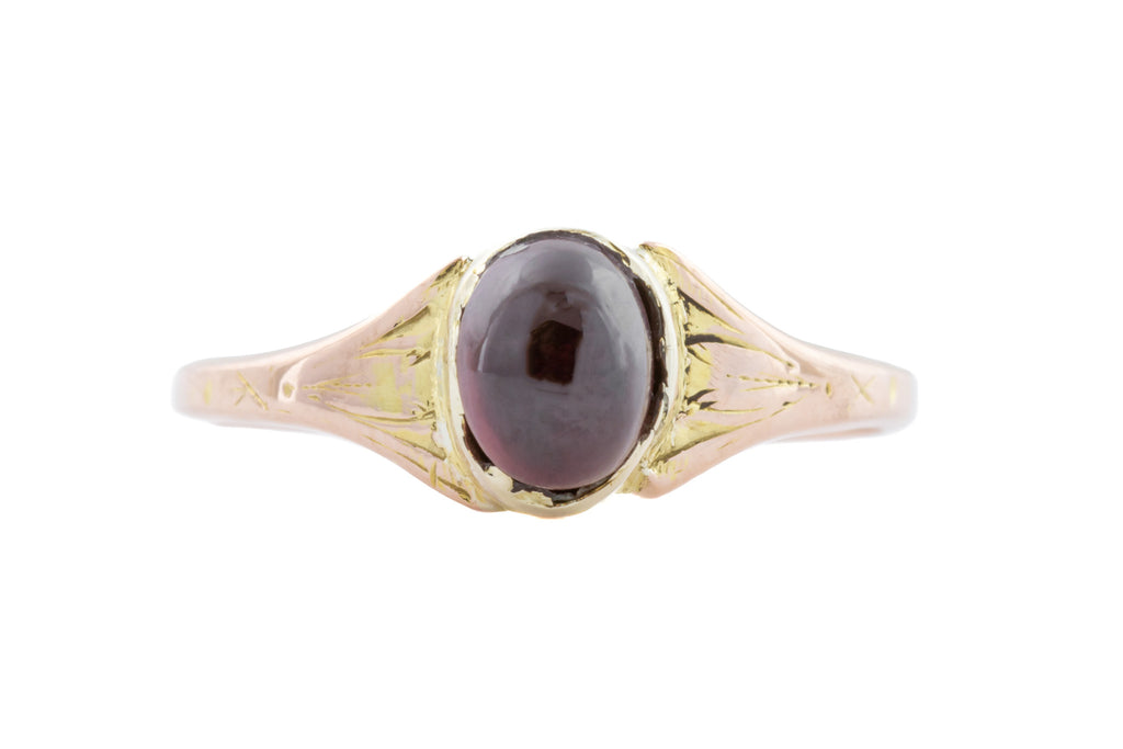 Dainty 12ct Gold Antique Garnet Cabochon Ring c.1880