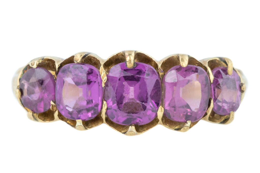 Victorian Amethyst Five Stone Ring