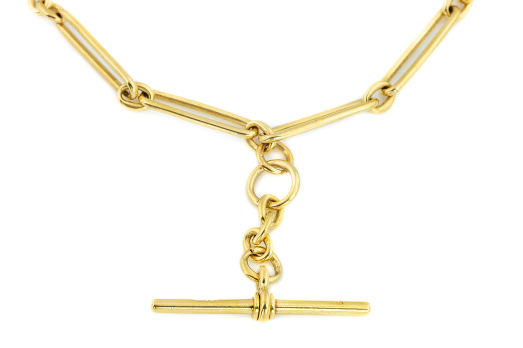 Solid Gold Victorian Albert Chain Necklace with T-bar and Dog Clip
