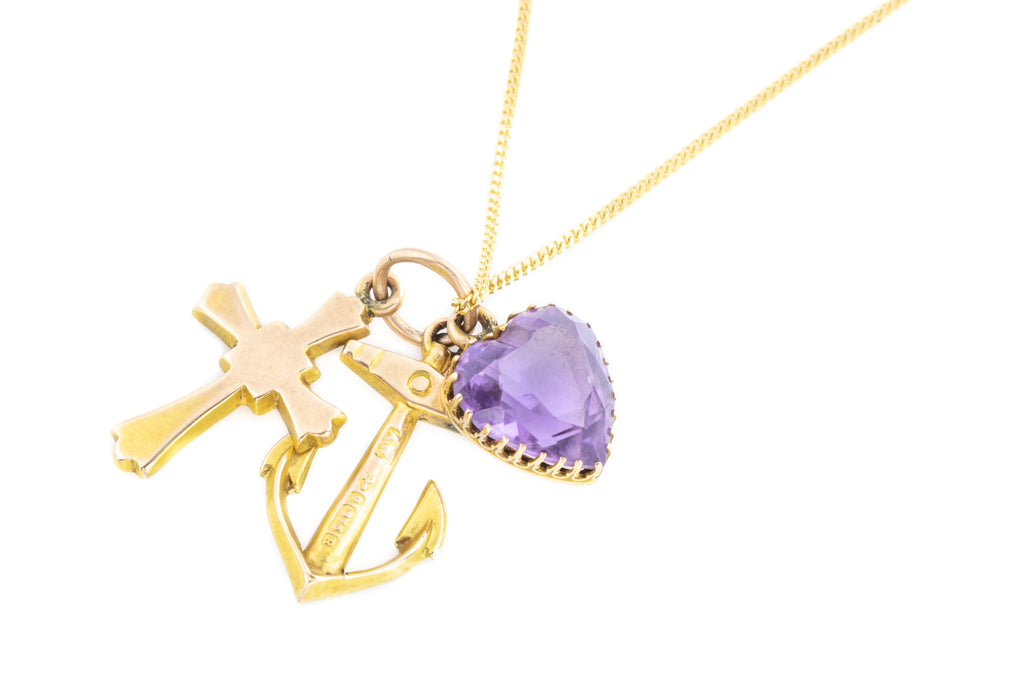 Victorian Amethyst Gold Charm Pendant, Love, Faith Hope