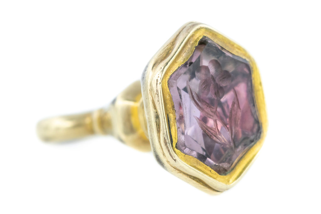 Victorian Amethyst Intaglio Fob Pendant in 15ct Yellow Gold