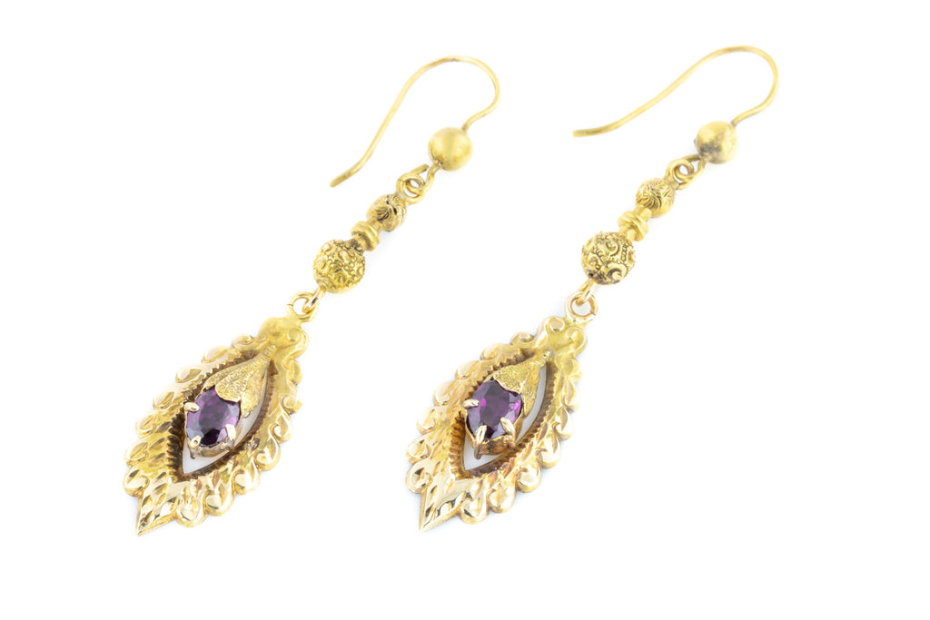 Victorian Garnet Drop Earrings