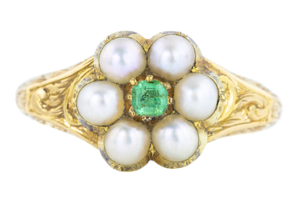 Georgian Emerald and Pearl Cluster Ring c.1800