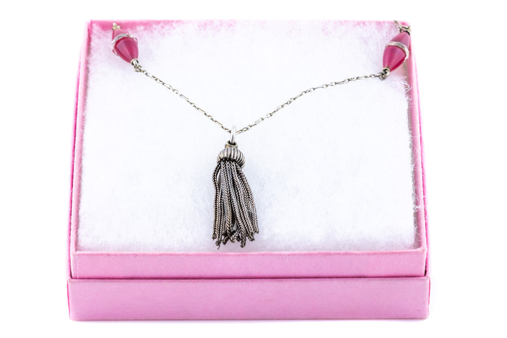 Art Deco Silver Tassel Necklace with Pink Chalcedony and Rock Crystal Beads