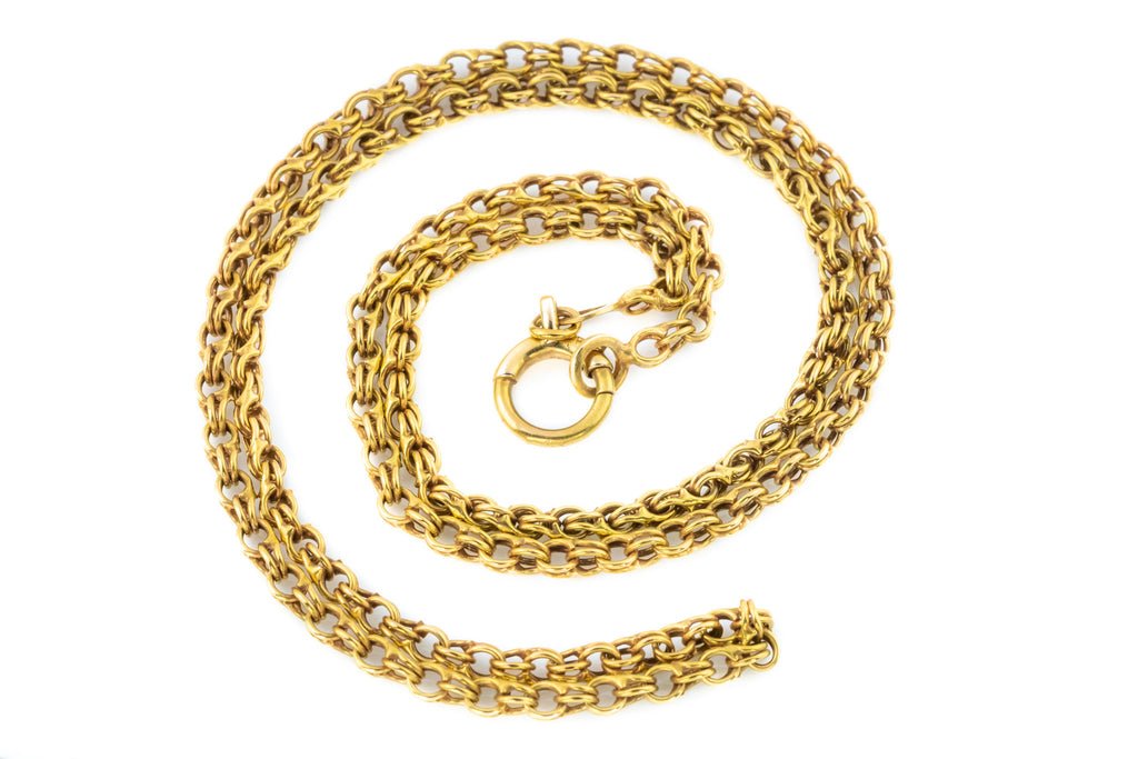 Victorian Double Belcher Chain Necklace in 9ct Gold, 23""