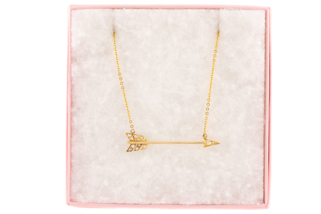 Antique 18ct Gold Diamond Arrow Necklace (0.20ct), 16""