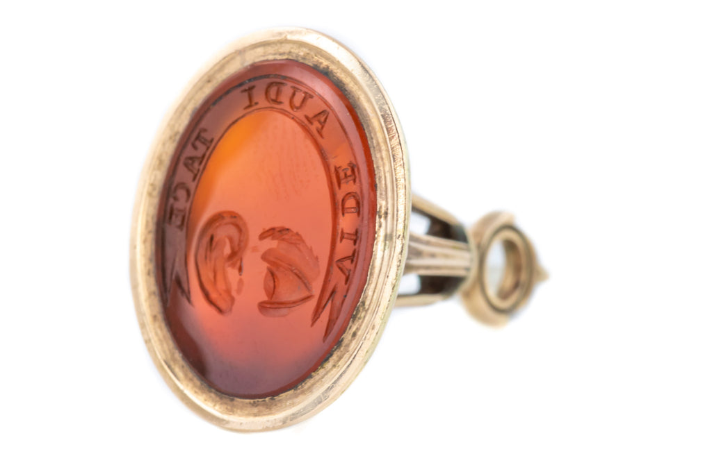 "Solid 9ct Rose Gold Georgian Fob Pendant - ""See, Hear, Be Silent"""