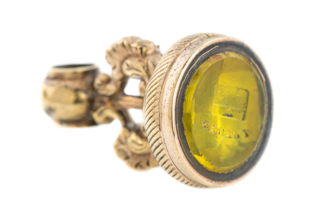 "Antique 9ct Gold Cased Fob Pendant - Intaglio ""CROYXZ"""