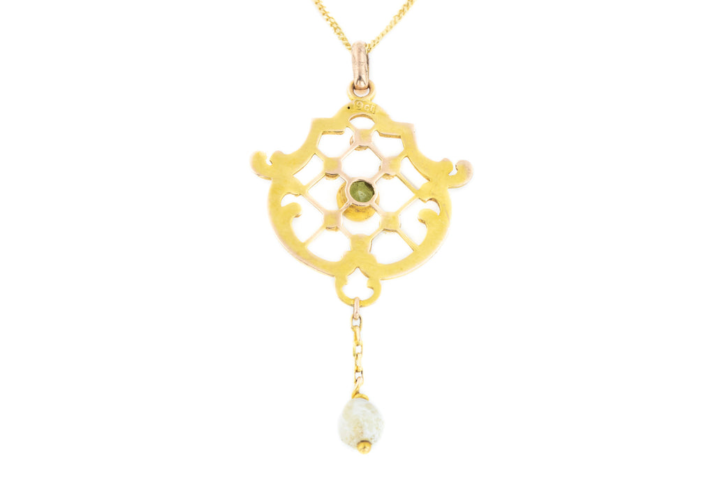Art Nouveau 9ct Gold Peridot and Pearl Drop Pendant c.1900