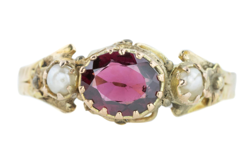 Victorian Garnet and Pearl Trilogy Ring in 12ct Gold (0.56ct)