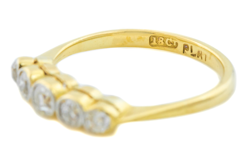 Art Deco 18ct Gold Five Stone Diamond Ring (0.55ct)