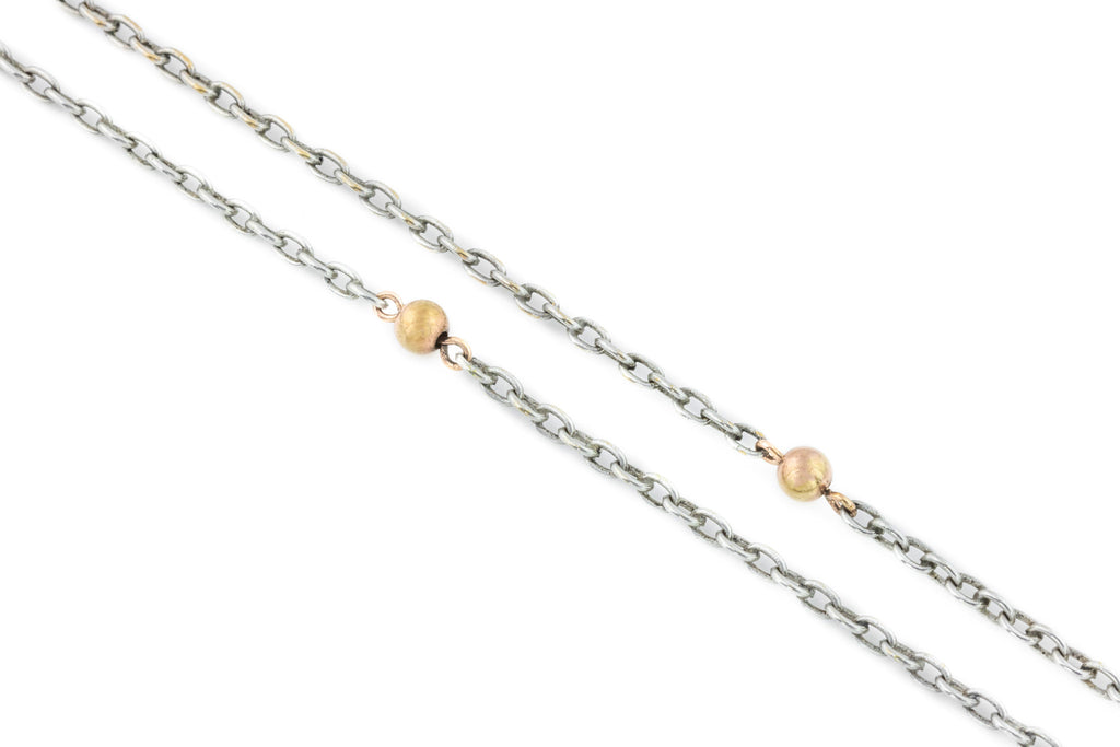 Long Silver Antique Necklace with 9ct Gold Balls - 38.8""