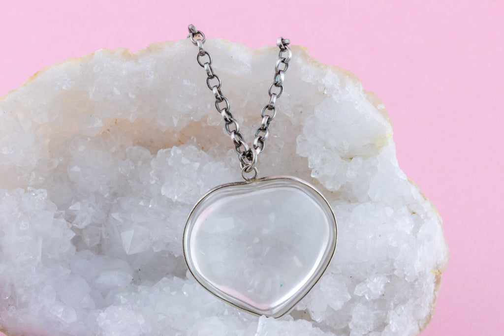 Victorian Rock Crystal Heart Pendant (96ct)