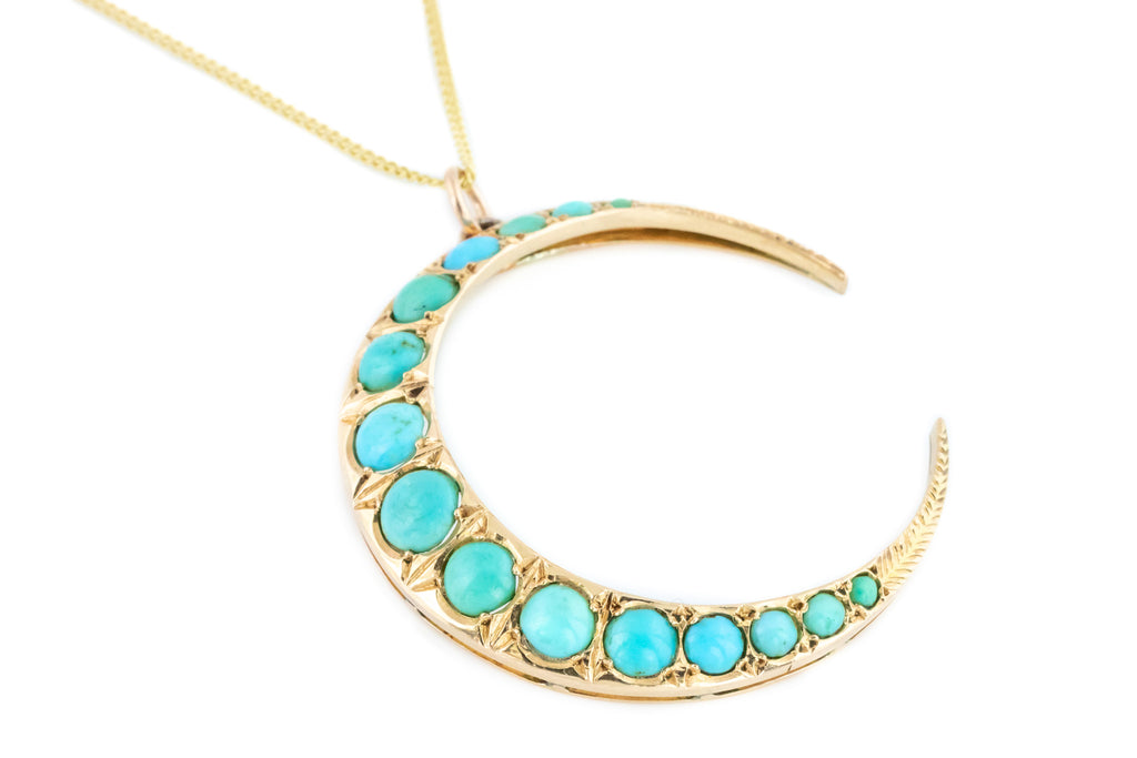 Victorian 14ct Gold Crescent Moon Turquoise Pendant with Chain