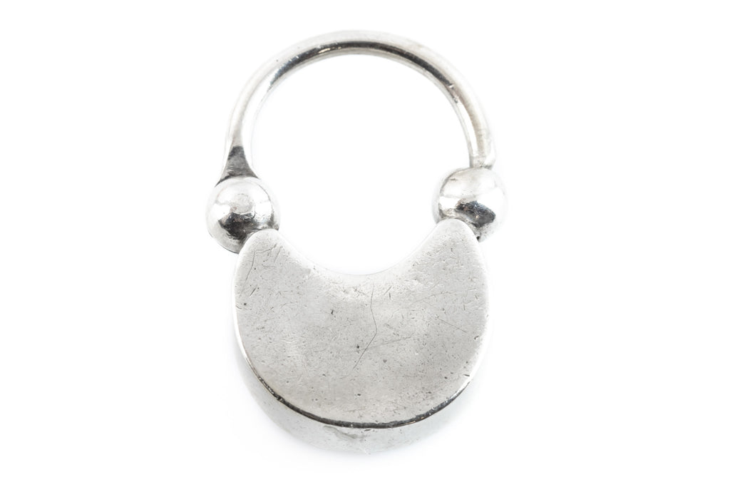 Antique Silver Crescent Moon Agate Padlock