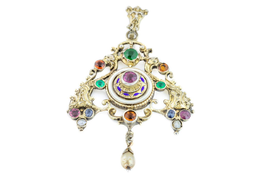 Austro Hungarian Pendant with Paste and Natural Pearl